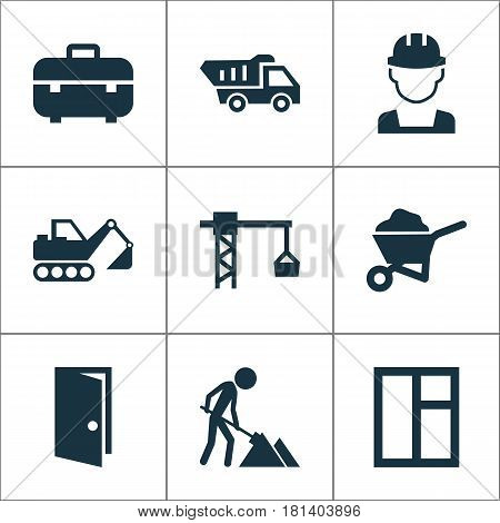 Construction Icons Set. Collection Of Carry Cart, Equipment, Digger And Other Elements. Also Includes Symbols Such As Excavator, Crane, Hook.