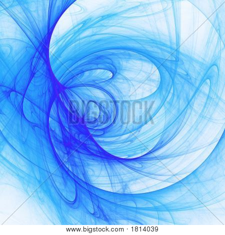 poster of abstract blue chaos cloud rays on bright background
