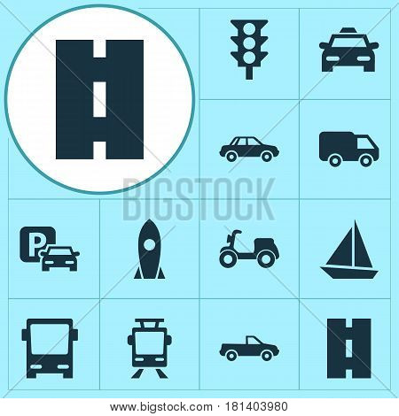 Transportation Icons Set. Collection Of Road Sign, Omnibus, Spaceship And Other Elements. Also Includes Symbols Such As Traffic, Sign, Spaceship.
