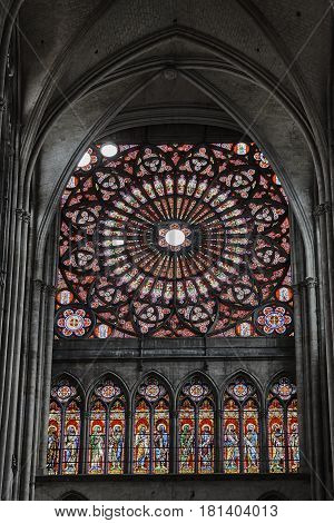 Window with stained glass in the Gothic Cathedral of Sts. Peter and Paul in Troyes France