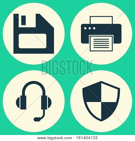 Laptop Icons Set. Collection Of Defense, Printing Machine, Diskette And Other Elements. Also Includes Symbols Such As Floppy, Printing, Disk.