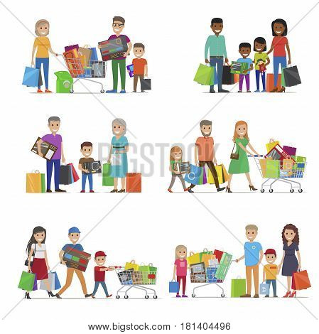 Family out on shopping. International characters with trolley carts, boxes or bags, African and European family, grandparents kids Spending free time together. Cartoon people vector illustration.