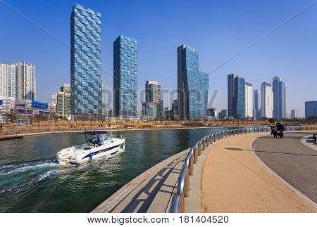 SongdoSouth Korea - February 19 2015: Songdo Central Park in Songdo International Business District Incheon South Korea.