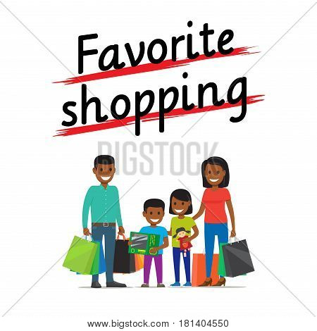 Favorite family shopping process icon on white. African smiling parents and children stand with packages and presents. Vector illustration in flat style of people that bought some goods and items