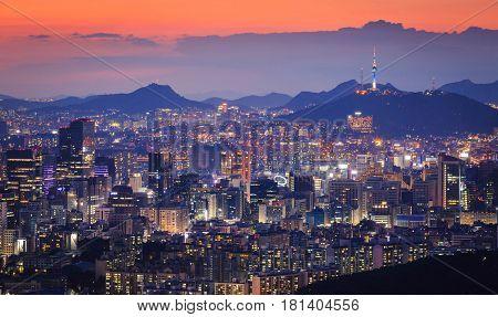 Seoul City and downtown skyline South Korea.