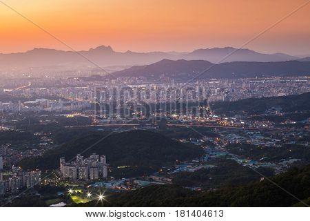 Seoul City Skyline In Sunset, Seoul, South Korea.