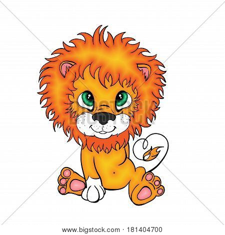 A little red lion cub is sitting