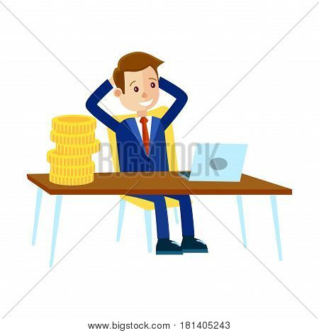 Cartoon businessman in blue suit and red tie sits at office table with big stack of coins and looks at laptop isolated on white background. Vector illustration about how business can bring easy money.