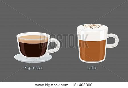 Coffee cups with Latte and Espresso on grey background with name text under each cup. Kinds of Italian coffee. Minimalist isolated vector illustration of hot drinks for coffee shops and cafes.
