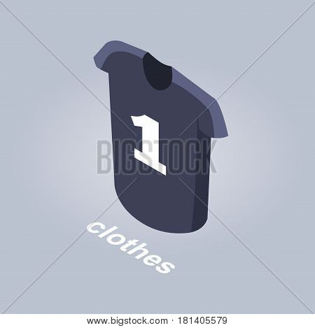 Clothes from internet shop. Dark navy sport T-shirt with number one isolated on grey background. Chose and order wear online from any place. Vector illustration of mens top piece of clothing.