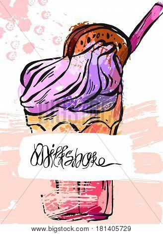 Hand draw vector abstract textured card of milkshake.Design for kids menubirthday.Card template.Monstershake in cocktail jar image.