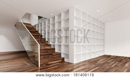 Storage space shelf next to stairs in empty room (3D Rendering)