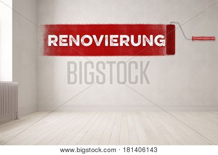 Paint roller paints german text Renovierung (renovation) on empty apartment wall (3D Rendering)