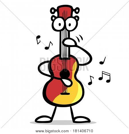 Cartoon of funny guitar character playing music