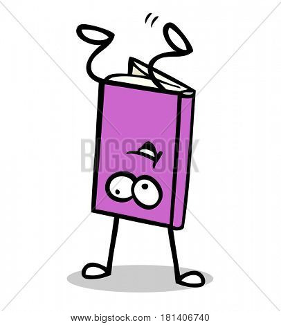 Book as funny cartoon character making a handstand