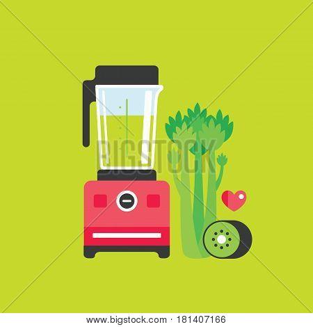 Blender Celery and Kiwi Healthy food background Vector illustration