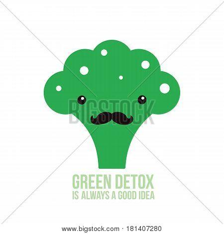 Cute green broccoli Healthy food Vector illustration