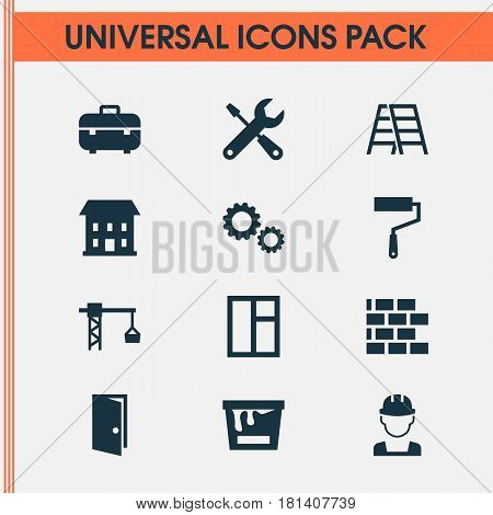 Building Icons Set. Collection Of Cogwheel, Stair, Lifting Hook And Other Elements. Also Includes Symbols Such As Tools, Repair, Cogwheel.