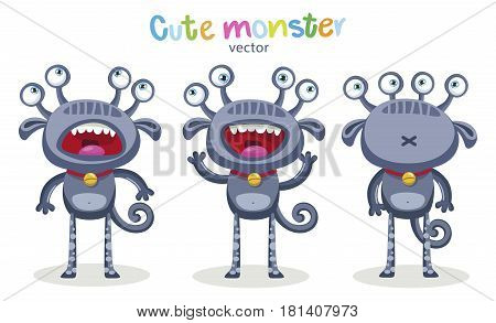 Emotional Person. Cute Cartoon Monsters Emotions. Vector Set Isolated On White Background. Cute Animal Grey Monster Expressions And Emotions.
