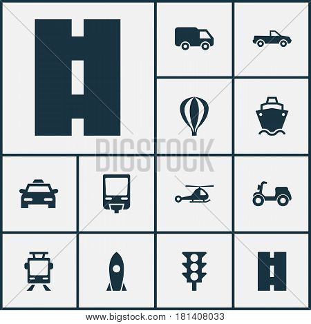 Shipment Icons Set. Collection Of Airship, Spaceship, Streetcar And Other Elements. Also Includes Symbols Such As Motorbike, Camion, Flight.