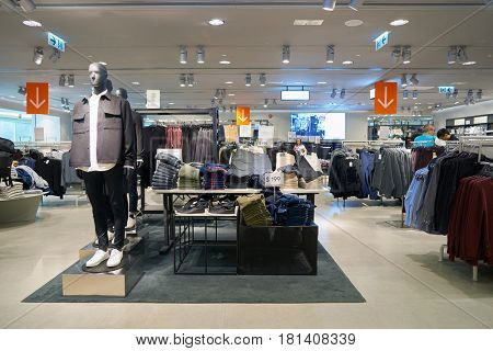 HONG KONG - CIRCA NOVEMBER, 2016: inside H & M store in Hong Kong. H & M Hennes & Mauritz AB is a Swedish multinational retail-clothing company, known for its fast-fashion clothing.