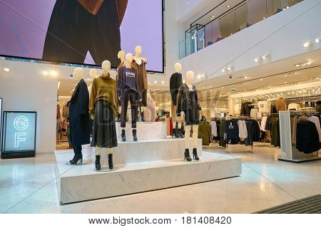 HONG KONG - CIRCA NOVEMBER, 2016: H & M store in Hong Kong. H & M Hennes & Mauritz AB is a Swedish multinational retail-clothing company, known for its fast-fashion clothing.