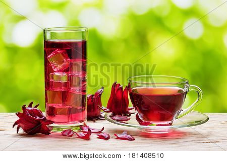 Magenta Hibiscus Tea (karkade, Red Sorrel) On Nature Background