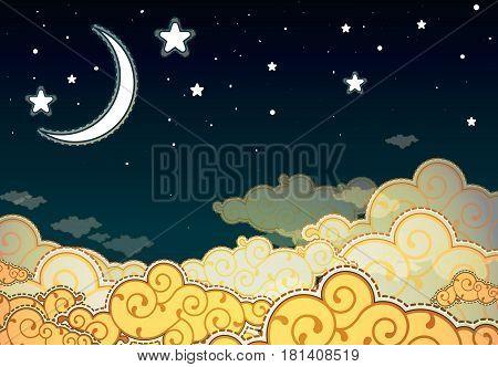 Cartoon style night sky with half moon