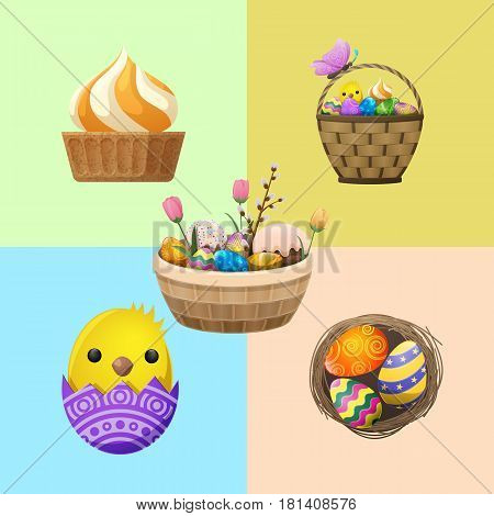 Easter festive flyer. Wicker basket with painted eggs, paschal bread, little chicken in eggshell, cupcake, tulips an pussy willow vector. Easter holiday attributes illustrations for greeting cards