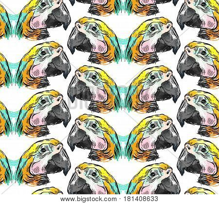 Tropical jungle seamless pattern with parrot bird on white background.Hand drawn abstract textured summer illustration.Tropical exotic birds pattern.Colorful tropic art.Tropical background.