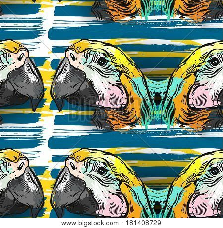 Tropical jungle seamless pattern with parrot bird macaw on brush stroke background.Hand draw abstract textured vector illustration.Tropical exotic birds pattern.Colorful tropic art.Tropical background