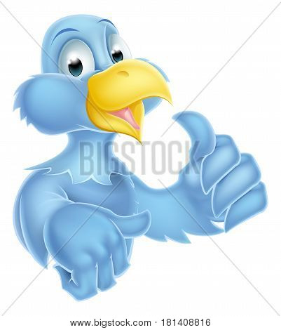 Bluebird bird mascot character giving a thumbs up