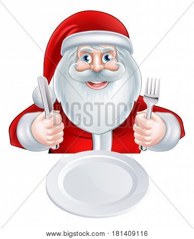 A Christmas cartoon illustration of Santa Claus holding his knife and fork about to eat