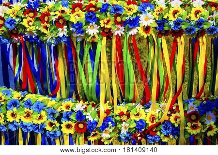 Wreath with flowers. Ukrainian wreath. Ukrainian wreath with ribbons