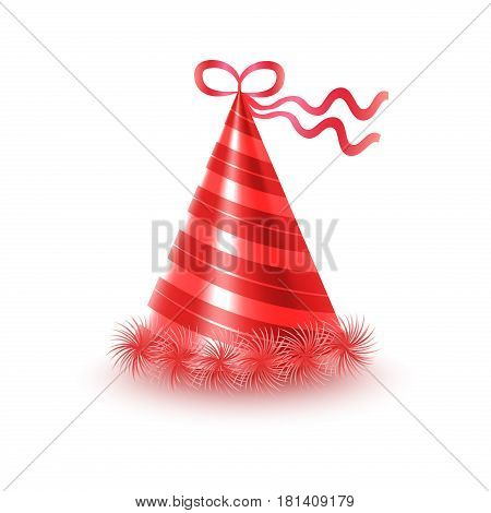 Brightly decorated with ribbon and fluffy pompons party hat. Striped red conical paper cap for festive costumes isolated vector illustration. Birthday or New Year party dressing accessory icon
