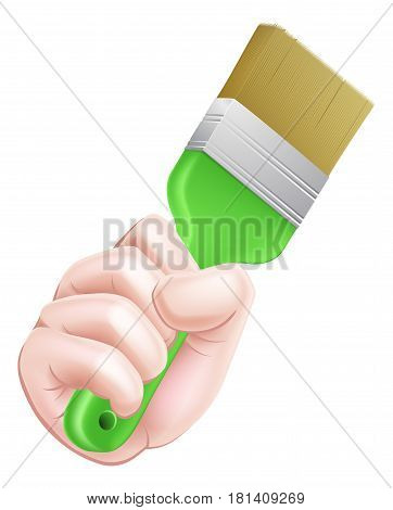 An illustration of a cartoon hand holding a paintbrush