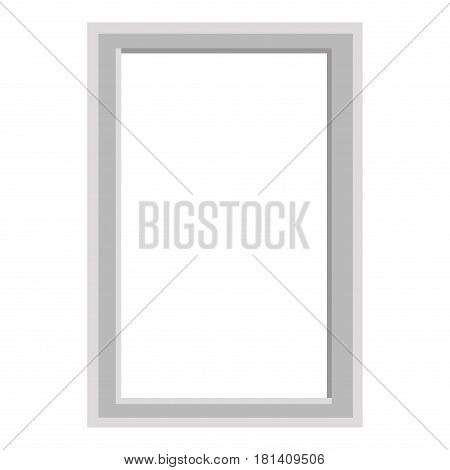 Simple grey frame isolated on white background. Minimalistic empty framework vector illustration. Square plain framing for photographs. Small interior decoration for nice and cozy atmosphere.