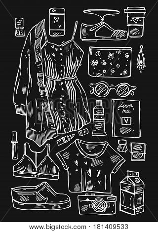 Hand drawn vector illustration set of girls stuff isolated on black.Collection of woman things.Lookbook.Vogue fashion journaling illustration of underwear, sun glasses, dress, women's shoes, cardigan