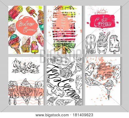 Hand draw textured ice cream card template set.Vector design collection cards isolated on white.Design for ice cream cafeice cream storebirthdayice cream postersalepartygreetinginnovationweb.