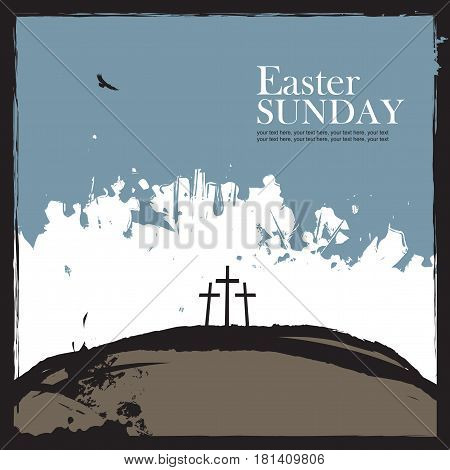 Mount Calvary with three crosses bird and text Easter Sunday on abstract grunge background