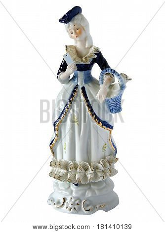 Serial porcelain figurine of Girl with a smartphone in vintage style isolated on white background