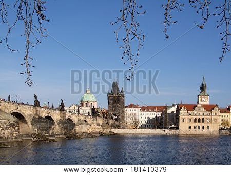 Beautiful view of the Charles Bridge Old Town Brige Tower and the former Water Reservoir Tower