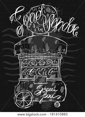 Hand drawn vector lined illustration of food vendor isolated on black.Design for street food.Vendor cart illustration.Street retail and wheel market.Street food kiosk and trolley.Lettering.Donuts sale