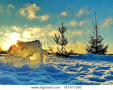 Ray of sun through a prism of ice on a background of the blue sky and  pines. Sunset. Subpolar Urals, Russia