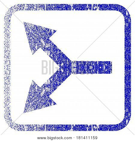 Bifurcation Arrow Left textured icon for overlay watermark stamps. Blue vectorized texture. Flat vector symbol with dirty design inside rounded square frame. Framed blue rubber seal stamp imitation.
