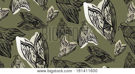 Cute line art lined seamless pattern with night moth or butterflies illustration isolated background in vector.Abstract wallpaper with ornamental elements of insect.Elegant design for any use