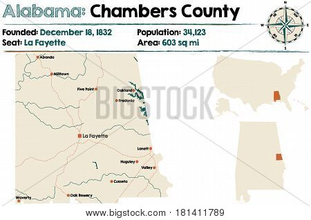 Large and detailed map of Chambers County in Alabama.