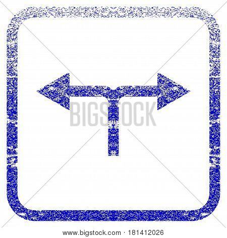 Bifurcation Arrows Left Right textured icon for overlay watermark stamps. Blue vectorized texture. Flat vector symbol with unclean design inside rounded square frame.