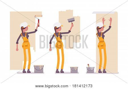 Set of young female worker wearing yellow overall, making repairs indoor, working with walls, preparing surface, smoothing, painting, gluing wallpaper, full length, isolated, white background