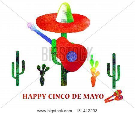 Cinco De Mayo Hand Drawn Watercolor Card.